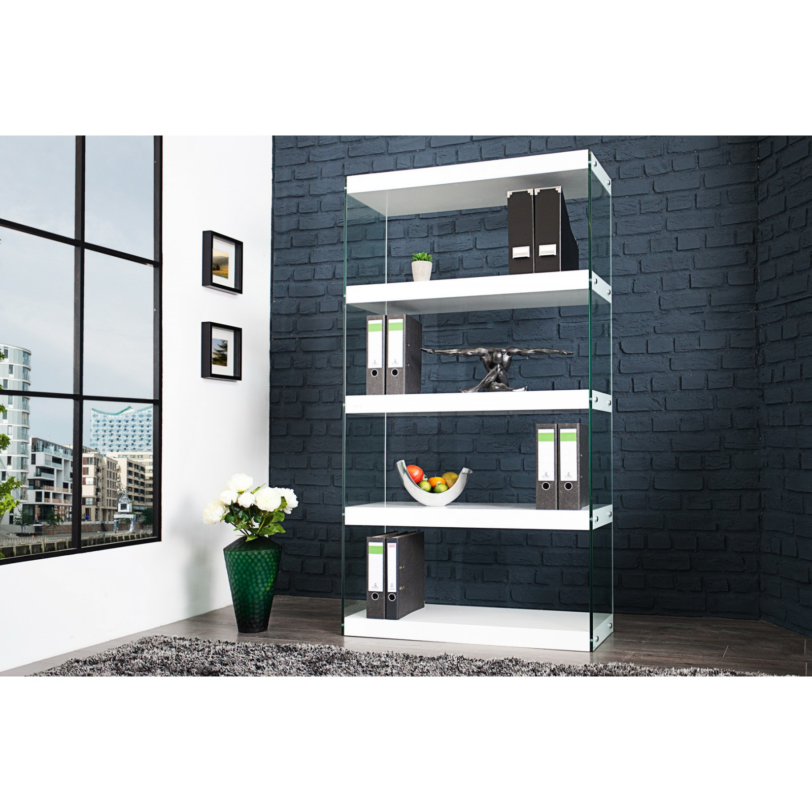 kni nica reg l 35717 biela sklo. Black Bedroom Furniture Sets. Home Design Ideas